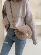 Metal Hasp Solid Plush Golden Chain Shoulder Bag