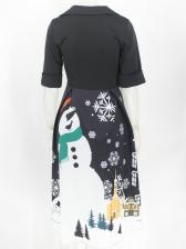 Christmas Snowman Printed Short Sleeve Midi Dress