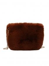 Easy Match Solid Color Soft Plush Chain Shoulder Bag