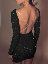 Glitter Backless Cross Black Long Sleeve Dress