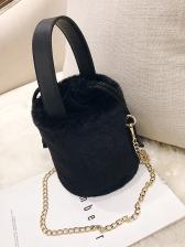 Cylindrical Drawstring Soft Plush Chain Bucket Bags