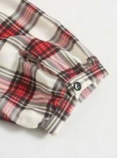 Single-Breasted Plaid Long Sleeve Maxi Dress