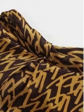 Vintage Printed Elastic Waist Long Sleeve Midi Dress