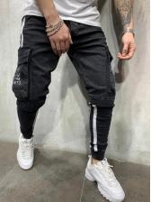 Letter Pockets Cargo Pencil Mens Jeans