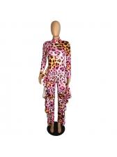 Ruffled Printed High Neck Long Sleeve Jumpsuit