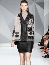 Winter Geometric Print Pockets Patchwork Ladies Coats