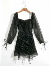 Gauze Panel Draped Long Sleeve Bodycon Dress