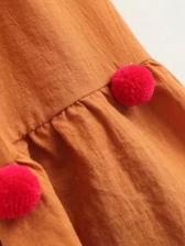 Vintage Style Hair Ball Decor Off Shoulder Dress