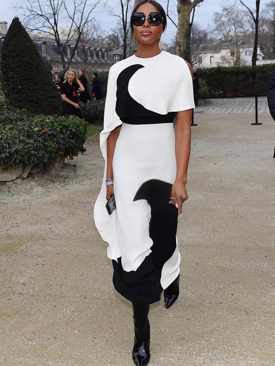 Euro Color Block Shoulder Cut Casual Maxi Dresses
