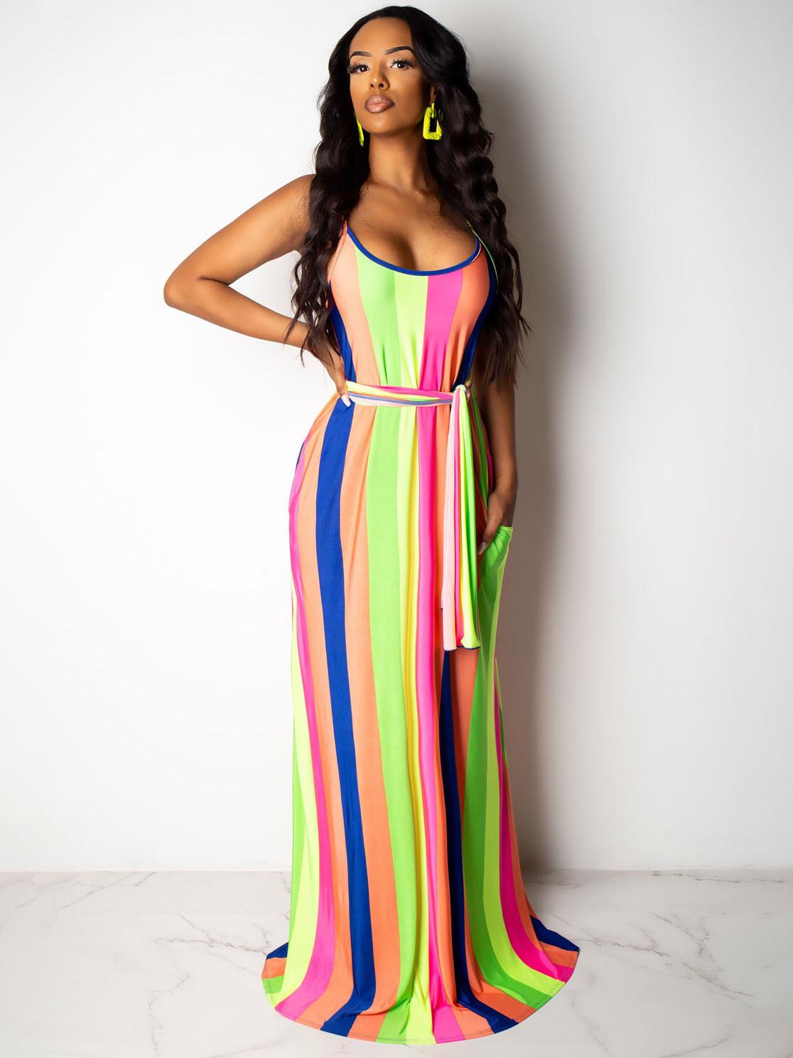 Colorful Striped Slip Sleeveless Maxi Dress