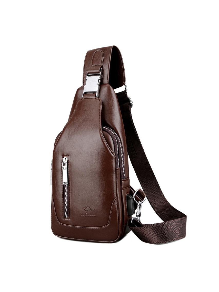 Business Solid Zipper Up Bumbag For Men