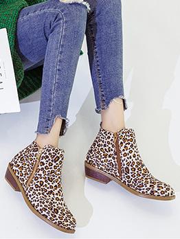 Vintage Side Zipper Solid Leopard Printed Martin Boots