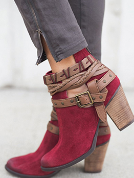 Buckle Strap Chunky Heel Womens Boots