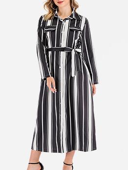 Fashion Tie-Wrap Striped Plus Size Maxi Dress