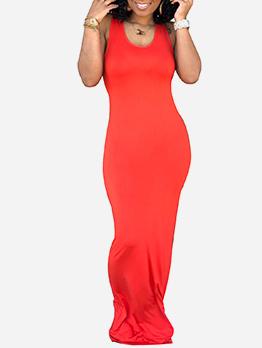 Casual U Neck Solid Sleeveless Long Maxi Dress