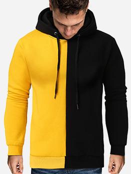Leisure Contrast Color Long Sleeve Hoodie