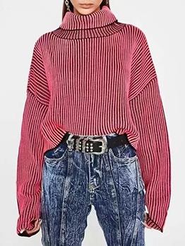 Striped Knitting Women Turtleneck Sweater