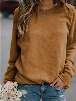 Casual Solid Color Crewneck Sweatshirt