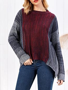 Stitching Color High Low Hem Crew Neck Sweater