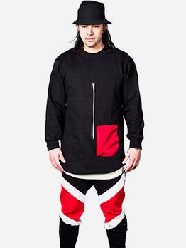 Contrast Color Pocket Men Cool Sweatshirts