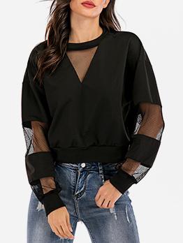 Trendy Crew Neck Gauze Patchwork Black Sweatshirt