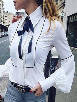 Turndown Collar Bowknot Lantern Sleeve Ladies Blouse