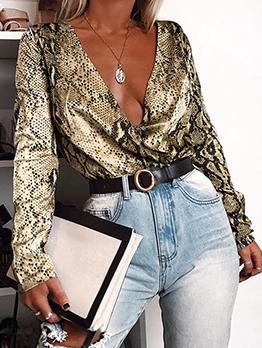 Deep V Neck Snake Print Women Long Sleeve Bodysuit
