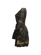 Camouflage Long Sleeve Ruffled Dress