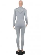 Skinny Hooded Zipper Long Sleeve Jumpsuit