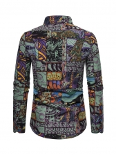 Chinese Style Printed Men Long Sleeve Shirts