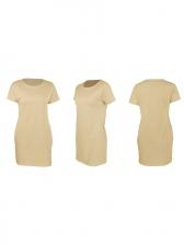 Euro Pockets Loose Short Sleeve T-Shirt Dress Causal
