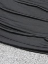 Inclined Shoulder Draped Sleeveless Bodycon Dress