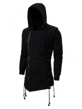 Solid Zipper Up Decor Hoodies For Men