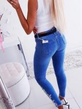 Ragged Hem Embroidery Studded Skinny Jeans