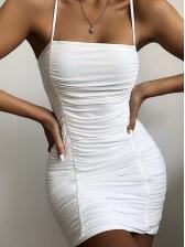 Tie-Wrap Straps Solid Draped Sleeveless Sheath Dress