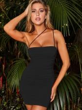 Backless Draped Solid Sleeveless Mini Dress