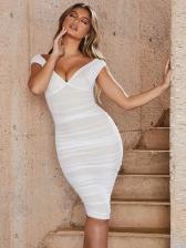 Sexy Low-Cut Gauze Sleeveless Bodycon Dress