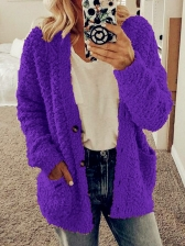 Casual Solid Pocket Long Sleeve Sweater Coat