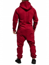 Solid Zipper Up Hooded Mens Jumpsuit