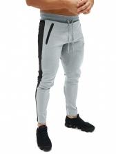 Sporty Contrast Color Pencil Mens Pants