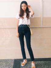 Blue Double Belts Skinny Jeans