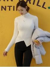 O Neck Irregular Skinny Thin White Sweater