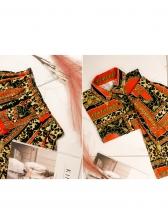 Vintage Printed Turndown Collar Two Piece Skirt Set
