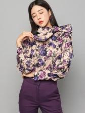 Fashion Bow Lantern Sleeve Floral Blouse