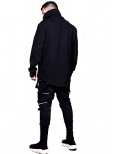 Turtle Neck Solid Loose Mens Sweatshirts