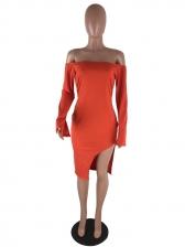 Solid Off The Shoulder Slit Long Sleeve Dress