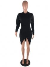 Solid Split Sexy Long Sleeve Dress