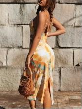 Tie Dye Slip Women Sleeveless Midi Dress