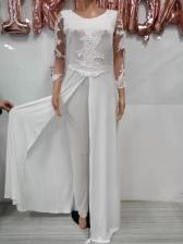 Gauze Patchwork Long Sleeve Lace Jumpsuit Dress