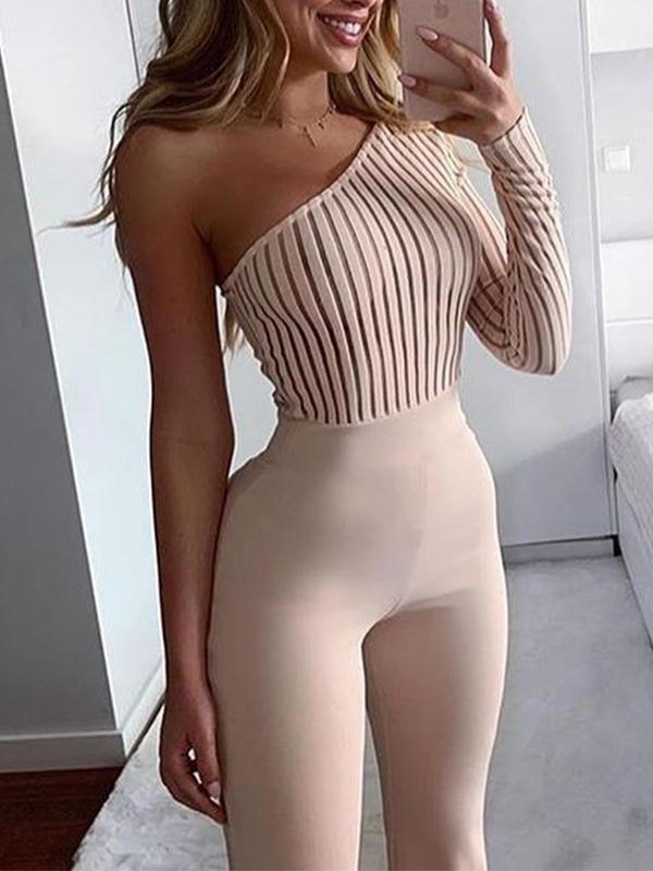 One Shoulder Knitting Skinny Jumpsuit